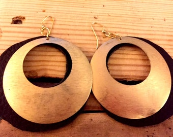 Leather and Gold Circle Earrings