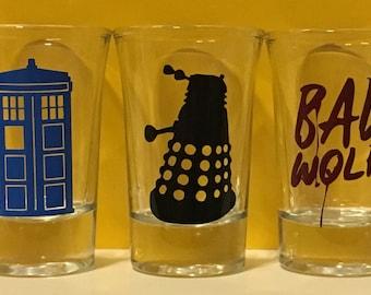 Doctor Who Shot Glasses -Tardis, Dalak, Bad Wolf