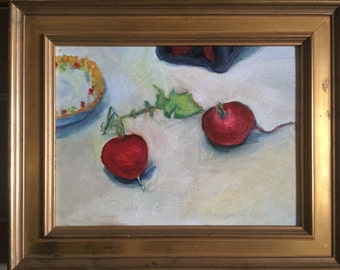 Oil painting, still life - radishes