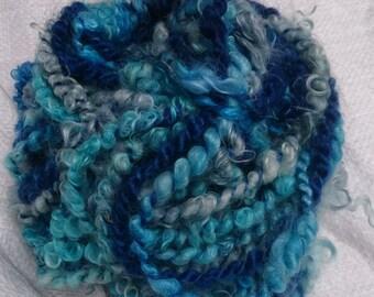 hand dyed mohair, 'Saphire' corespun art yarn, 23&25m, 140/148g