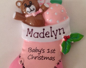 Personalized Pink Stocking  , Baby Girl's First Christmas Ornament- Newborn Gift