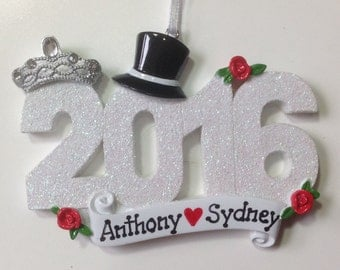 50% off Personalized 2016 Wedding Christmas Ornament -  1st Anniversary,Newlywed Couple- Wedding Favor Gift