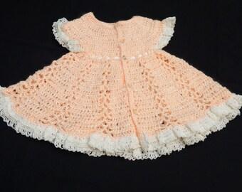 Peach Dress with white cotton trim