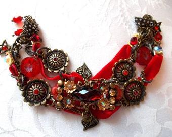 Medium dark red velvet and two red rhinestone bronze chain bracelet