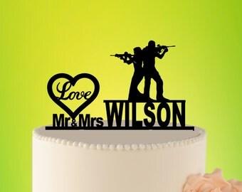 HUNTER WEDDING Cake Topper, Wedding Cake Topper with guns, mr mrs cake topper, Gunsters Wedding,  Wedding Decore Silhouette Topper L2-01-019