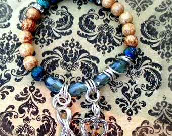 Blue Jasper and Czech glass Charm Bracelet