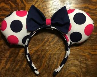 Navy and Pink Large Polkadot Ears