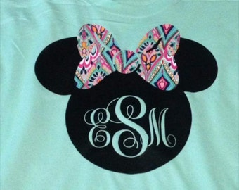 Lilly inspired Print Minnie Monogrammed shirt