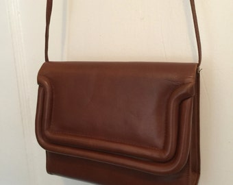 80's Saks Fifth Avenue brown calf leather bag