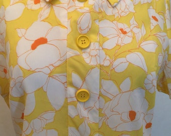 60's yellow floral day dress
