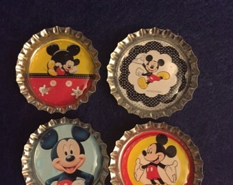 Mickey Bottle Cap Magnets - Set of 4