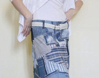 Denim patchwork skirt