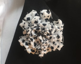 Dalmation Print Black and White Mens lapel pin, Lapel pins men, Flower lapel pin, Mens lapel flower, Lapel pin, Lapel flower