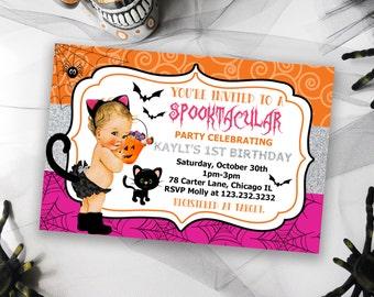 Baby's First Birthday Halloween Invitation, Printable Halloween Invitation, Birthday Invitation, Halloween Invites, Birthday Invites