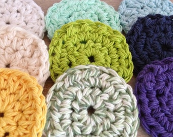 Crochet Cotton Face Scrubbies -- Set of 5