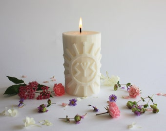 "Handmade Soy wax  candle with Runic formula"" Protection of Sun"", pillar candles, gift for him, gift for her"