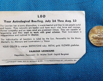 Leo Zodiac Vintage Good Luck Collectables Coins/Tokens (Not US Curency)