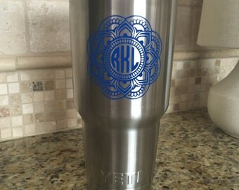 Yeti Monogram Decal // Custom Yeti Decal // Tumbler // Vinyl Decal