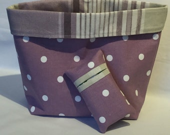 Fabric basket and pocket tissue holder set