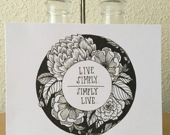Live Simply / Simply Live Floral Print / Inspirational Print / Wall Art / Any Occasion