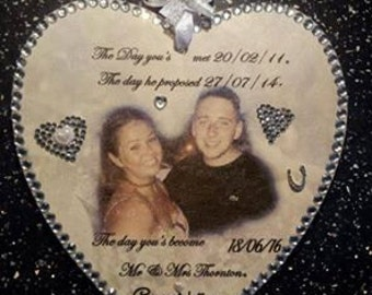 Wedding/Engagement gift wooden photo heart made with love