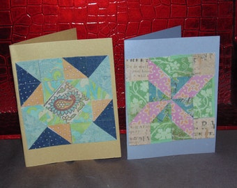paper mosaic cards, quilt cards, blank notecard
