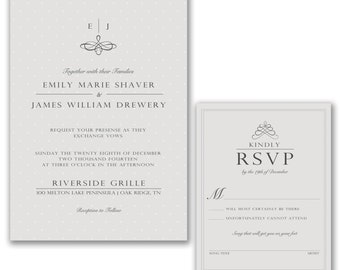 Simple Classic Modern Wedding Invitations and RSVP Custom