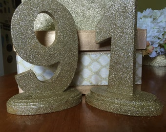 Gold Sparkly Table Numbers 1-9
