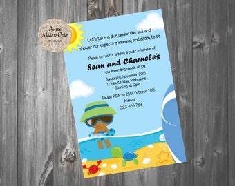 Ocean Baby Shower Invitation Sun baby swimming