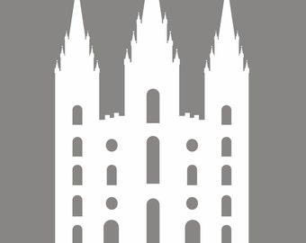 Gray LDS temple print