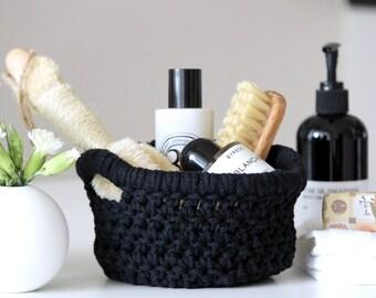 Small Crochet Basket (Iris design) - Black