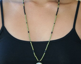 Black and Green Beaded Long Necklace with Steampunk Pendant