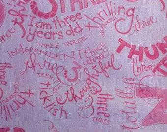 I AM THREE Kids Childrens Girls Birthday Party Pink Quilting Cotton Fabric