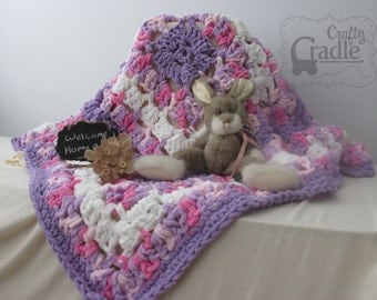 Cuddly Pink and Purple Baby Blanket