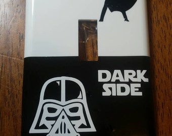 Star Wars light switch cover, single toggle switch plate, light switch plate, dark side, light side, choose wisely, double, triple, rocker