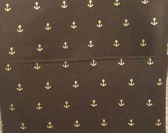 Cute Black Gold Anchor Print Cross Body Bag
