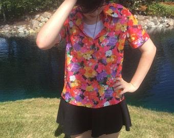 Vintage 1980s Flower Collared Shirt