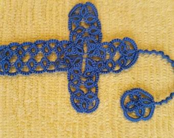 Handmade Tatted Cross Bookmark