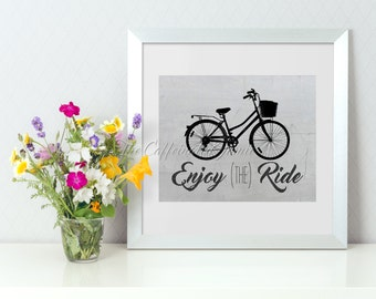 Enjoy the Ride Bicycle WHITE BACKGROUND Chalkboard Printable