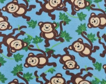 Monkeys in Jungle - Blue Fleece Fabric by the yard