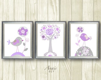 Purple and Grey nursery wall art Printable art Bird nursery Flower Baby Nursery art Baby girl Room Decor Printable Kids Wall Art