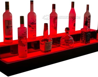 "Lighted Bar Shelves - 2 Tiers - 42"" Wide - Color Changing LED Lights"