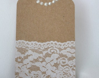Wedding Lace Gift Tag/ Lace Gift tag/ Lace tag/ Lace and pearls tag/ Bridal tag