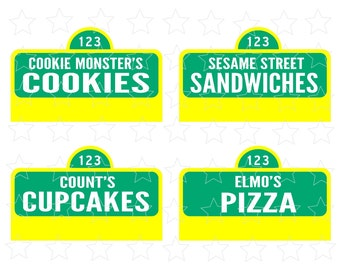 Sesame Street Printable 20 Food Labels. PDF file. Instant download. Food Signs. Sesame Street Birthday Party DIY. Party Signs.