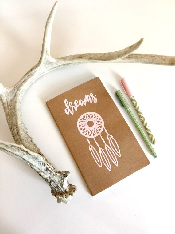 Dream Catcher Journal | 8 1/4 X 5 Paper Kraft Journal | Handlettered Embossed Feather and Lettering | Wedding Favors | Bridesmaid Gift