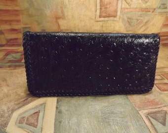 Stunning Black Ostrich Embossed Leather Checkbook Cover