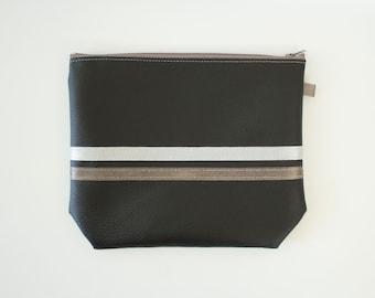 Pocket soft black ribbon Pearl Grey and Brown satin taupe
