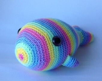 Crocheted stuffed animal Lisa the Rainbow Whale