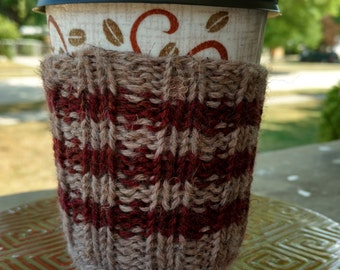 Coffee Cozy: Tan and Maroon Stripes