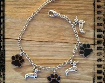 Dachshund dog charm bracelet and footprint